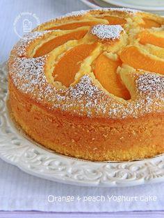 Happy Home Baking: Orange and peach yoghurt cake. Orange cake w/peaches on top. Peach Yogurt Cake, Peach Cake, Easy Cake Recipes, Baking Recipes, Dessert Recipes, Bolo Normal, Cupcake Cakes, Cupcakes, 7 Cake