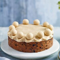 A simnel cake, traditionally presented by children to mothers on Mothering Sunday in the UK; the eleven marzipan balls symbolise Jesus's twelve disciples, minus the traitorous Judas.