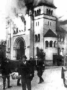 November 9-10, 1938: Kristallnacht, also known as The Night of Broken Glass. German soldiers and other citizens attacked Jewish homes, shops, synagogues, and other property throughout Germany and parts of Austria. The attacks were triggered by the assassination of German diplomat Ernst vom Rath by a German-born Polish Jew. Photograph shows the burning of a synagogue in Baden-Baden.  Source: Jewish Virtual Library