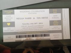 our wedding invitations concert ticket and tear off rsvp ortiz