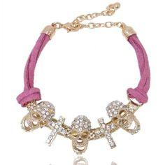 EVER FAITH Halloween Gold-Tone Skull Cross Leather Bracelet Austrian Crystal Clear - Pink http://www.amazon.com/dp/B00E9SJCT4/ref=cm_sw_r_pi_dp_LokUvb1GPAVHJ