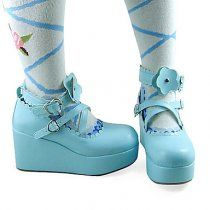Handmade Blue PU Leather 7cm Wedge Sweet Lolita Shoes