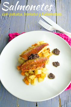 KOOKING: Salmonetes con patatas, boniatos y olivada de Kala...