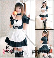 Womens Girls Party Hot Cosplay Maid Costume Lolita Waitress Uniform Lace Dresses Wholesale Free Shipping