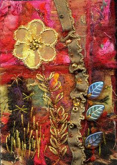 Felted and Embellished Art Quilt by Molly Jean Hobbit. Fabric Art, Fabric Crafts, Embroidery Stitches, Machine Embroidery, Embroidery Art, Crazy Quilt Stitches, Crazy Quilting, Fabric Postcards, Textiles