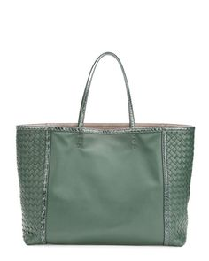 V21KF Bottega Veneta Medium Snake & Napa Tote Bag, Green