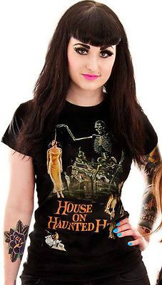 LADIES FITTED BLACK T SHIRT HOUSE ON HAUNTED HILL VINCENT PRICE B-MOVIE SCI-FI