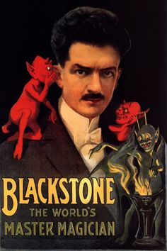"MAGIC BLACKSTONE MASTER MAGICIAN RED DEVIL FINE VINTAGE POSTER REPRO 12""X16"" 