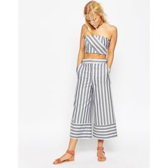 ASOS Premium Multiway Stripe Culottes Co-ord (435 CNY) ❤ liked on Polyvore featuring pants, capris, multi, cropped pants, convertible pants, stripe pants, white pants and tall pants