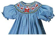 Amazon.com: Rosalina Little Girl's Dancing Santa Blue Gingham Smocked Bishop Dress: Clothing
