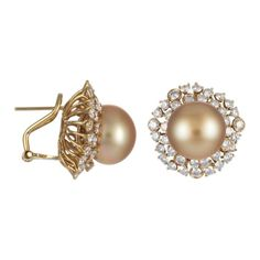 Gold South Sea Pearl Earrings with Yellow Gold & ...
