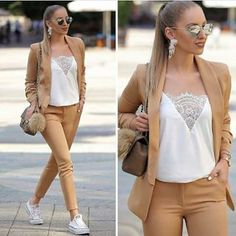 Neutral and classy outfits for women – Just Trendy Girls Classy Outfits For Women, Casual Work Outfits, Business Casual Outfits, Suits For Women, Chic Outfits, Fall Outfits, Summer Outfits, Fashion Outfits, Clothes For Women