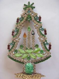 Wonderful Czech hand made Rhinestone christmastree stand up signed HUSAR.D 21