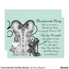 Corset Martini Teal Blue Bachelorette Party Card