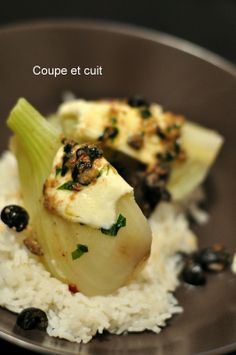 Fenouil au beurre d'anchois, mozzarella et olives noires