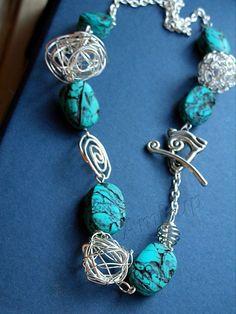 SIMIL TURCHESE : collana  fatta a mano in argilla polimerica (FIMO) - hand made polymer clay necklace