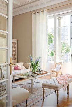 Decorate Neutral Interiors With A Delicate Touch Of Color - decoration,wood,wood working,furniture,decorating Beige Living Rooms, Home Living Room, Living Room Designs, Living Room Decor, Living Spaces, Small Living, Modern Living, Living Room Inspiration, Home Decor Inspiration