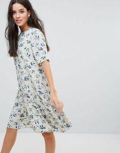 Y.A.S Leaf Print Dropped Hem Dress