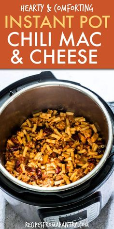 Instant Pot Chili Mac and Cheese is super quick easy and affordable! A delicious version of a comfort food classic thi. Easy Potluck Recipes, Lunch Recipes, Appetizer Recipes, Healthy Recipes, Pasta Recipes, Pasta Sauces, Appetizer Ideas, Meal Recipes, Casserole Recipes