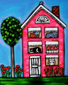 CATS Home Sweet Pink HOME Folk Art Cat PRINT by kristaartstudio