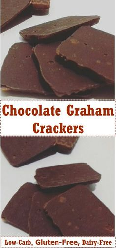 Low Carb Meals Chocolate Graham Crackers ( Low-carb /Keto, Gluten-Free and Dairy-free ) - These chocolate graham crackers are the perfect treat for chocolate fans. They are low-carb, keto, gluten-free, and dairy-free. Low Carb Sweets, Low Carb Desserts, Gluten Free Desserts, Low Carb Recipes, Diet Recipes, Spinach Recipes, Brunch Recipes, Vegan Recipes, Sem Gluten Sem Lactose
