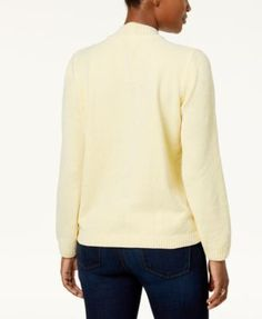 Alfred Dunner Petite Embellished Chenille Mock-Neck Sweater - Ivory/Cream PXL