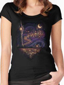 Lanterns Of Hope Women's Fitted Scoop T-Shirt. Rapunzel floating lanterns shirt for Disney World.