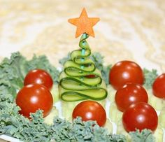 Great Christmas garnish for appetizers or vegetable platter!