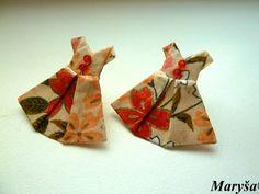 Origami earrings Dress earrings studs  Paper Washi by MarysaArt