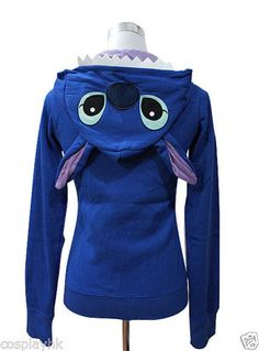 Japan Anime Disney Stitch Zip UP Hoodies Jacket Coat Sweatshirt Animal Costume