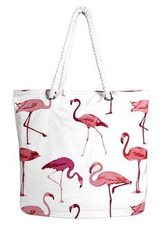 58d9bedc1d35 Flamingo Rope Accent Handle Cotton Canvas Tote