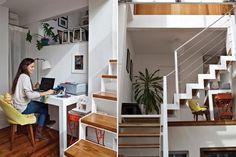 El entrepiso terminó destinándose a un estudio, un lugar cómodo y luminoso donde un escritorio y una silla cabían perfectamente...