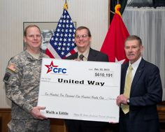 Federal, military and postal employees, donated $610,191 to 960 local, national and international charities, through the Illowa Bi-State Combined Federal Campaign during the recently-completed 2012 campaign. At a recent CFC awards ceremony, Brig. Gen. Duane Gamble, deputy commanding general of Army Sustainment Command, and acting honorary chairperson of the local CFC, presented Rick Widdell, principal combined fund organization representative, with a check to the hundreds of charities ...