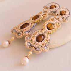 BEIGE CHIC LONG Soutache Earrings by DILETTANTEsoutache on Etsy, $162.00