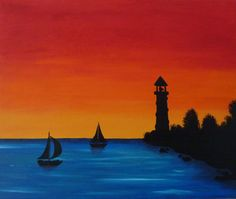 Lighthouse on the Point - Original Handpainted Acrylic Painting on Canvas