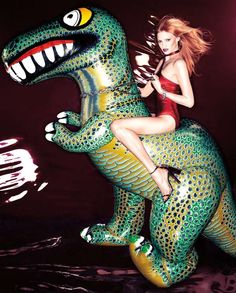 The Lara Stone 'Wild Swimwear' Interview Magazine Spread is Ultra Fun #inflatable trendhunter.com