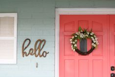 Loving these bright painted coral front doors! So easy to make a statement with bold front door paint choices using Curb Appeal paint. Such cheery front doors on a colorful porch. Coral Front Doors, Coral Door, Painted Front Doors, Front Door Colors, Ranch Exterior, Cottage Exterior, Exterior House Colors, Exterior Doors, Exterior Paint