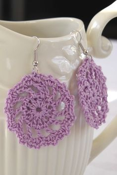 lacy Lilac Crochet Doily Earrings by ALTernativeCreations on Etsy, $10.00