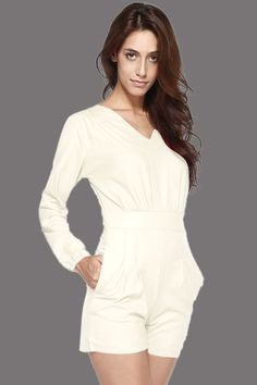 Cheap White V Neckline Short Casual Jumpsuit online - All Products,Sexy Lingerie,Gown & Long Dress Jumpsuit Casual, Casual Shorts, Short Jumpsuit, Denim Shorts, Lingerie Gown, Sexy Lingerie, Jumpsuits For Women, Rompers, Clothes For Women