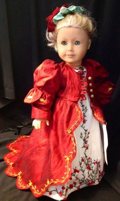 Red, Red Rose Regency Ball Gown for Caroline, with a red Dupioni silk pelisse with petal sleeves and a gold embroidered train  by RAND Dolls | eBay