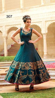 8596d0aa25 Buy Light Green Raw Silk Embroidered Party Wear Gown online in India at  best price.eight 2 Kg Dispatch Date Feb
