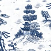Blue Willow Toile fabric by juliamonroe, spoonflower