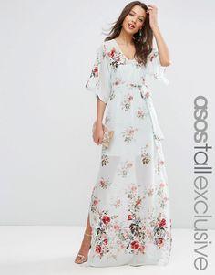 Imagen 1 de Vestido largo con estampado floral y bordado de ASOS TALL SALON