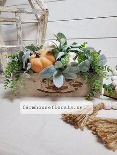 This arrangement is made in a old vintage sewing machine drawer. . A great way to accentuate that classic look in any room. Make this the next addition to your Farmhouse style decor. Arrangement measures (tip to tip)  15 W X 11T  **The listing is for fall lambs ear arrangement only. SHIPPING: • All