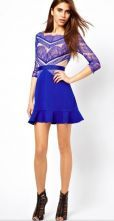 Blue Contrast Hollow Long Sleeve Eyelash Lace Ruffle Dress - Sheinside.com