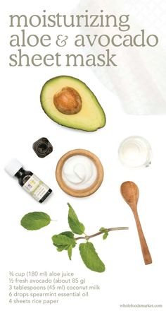 DIY Moisturizing Aloe & Avocado Mask 1. Combine aloe juice, avocado, coconut milk & essential oil in blender until smooth. 2. Cut rice paper into 2x3in. strips. 3. Moisten washcloth w/ hot water & drape over face for 30 seconds. 4. Brush one strip of rice paper w/ puréed mask, place on face, avoiding eyes, lips or nostrils. Repeat until your face is covered in strips. 5. Allow mask to dry for up to 20 minutes before discarding strips & rinsing face. 6. Pat dry & follow w/ toner, as needed.