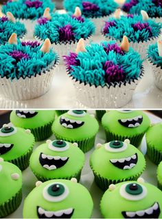 Cupcakes Monster Inc. Cupcakes,Monster Inc. Cupcakes, ideas for cookies monster cupcakes baking Poop Emoji Cupcakes Monster Inc Party, Monster Birthday Parties, Monster Inc Cakes, Birthday Ideas, Deco Cupcake, Cupcake Wars, Cupcake Cookies, Cookie Monster Cupcakes, Cupcakes Design