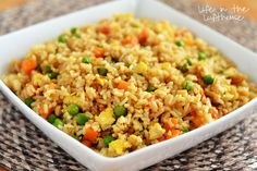 EASY Fried Rice Ingredients 3 cups cooked white rice (day old or leftover rice works best!) 3 Tablespoons sesame oil (or vegetable oil) 1 cup frozen peas and carrots (thawed) 1 small onion, chopped 2 teaspoons minced garlic 2 eggs, slightly beaten 3-4 Tablespoons soy sauce