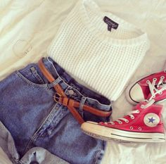 I love this little knit top paired with the high waisted shorts and the red converses just give a little pop if color to the out I am absolutely in love!!! <3