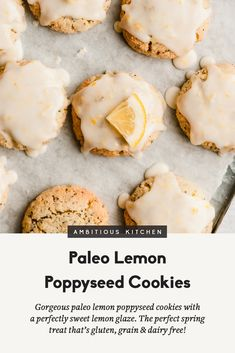 Gorgeous paleo lemon poppyseed cookies made with a mix of nutritious coconut flour and almond flour then topped with an easy, sweet & zesty lemon glaze. The perfect healthy spring treat that's gluten, grain, dairy free and easily vegan! Healthy Carrot Cakes, Healthy Cookies, Healthy Foods To Eat, Healthy Baking, Cookies Vegan, Healthy Deserts, Healthy Muffins, Healthy Sweets, Gluten Free Oats